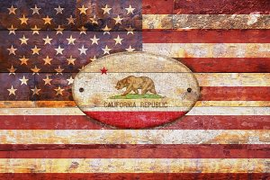 USA and California flags.