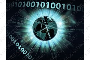 Binary information data globe