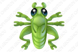 Cartoon grasshopper insect bug