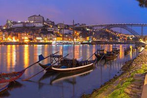 Rabelo boats on the Douro river, Porto, Portugal.