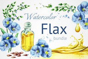 FLAX bundle. Hand painted watercolor