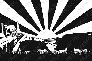 Pigs in silhouette in farm field