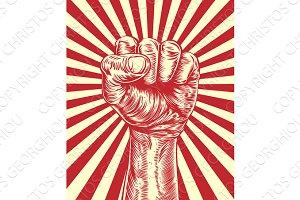 Revolution fist propaganda poster