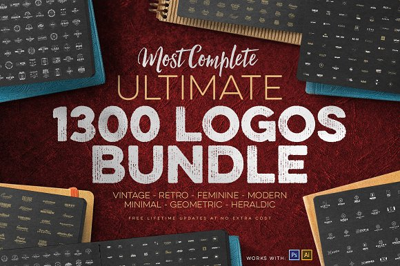 1300 Logos Ultimate Bundle-Graphicriver中文最全的素材分享平台