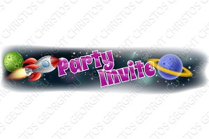 Kids Space Party Invite