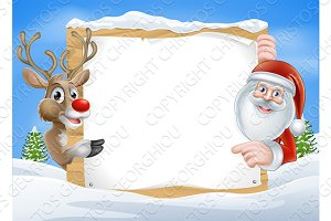 Christmas Reindeer and Santa Sign