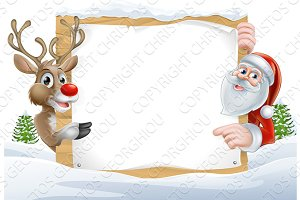 Christmas Santa and Reindeer Sign