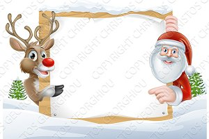 Santa and Reindeer Sign