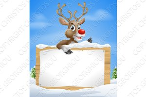 Christmas Cartoon Reindeer Sign