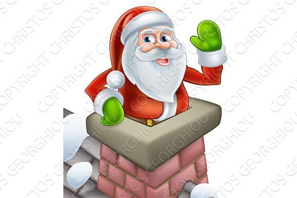 Santa In Chimney Christmas Cartoon