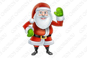 Cartoon Santa Waving