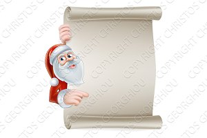 Cartoon santa scroll sign