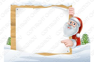 Santa Cartoon Christmas Sign