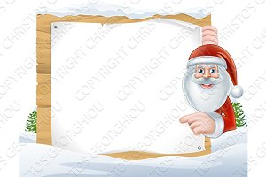 Christmas Cartoon Santa Claus Sign