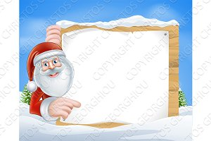 Christmas Cartoon Santa Sign
