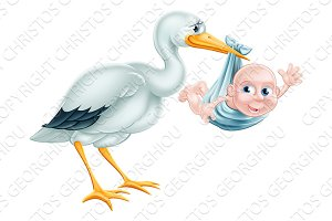 Stork and Baby Cartoon