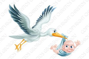 Stork and Baby Flying Cartoon