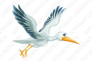 Stork Flying Cartoon