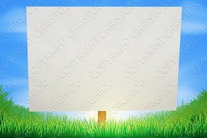 Sign in sunny grass field