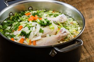 Chicken soup ingredients in cook pot