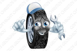 Tyre mechanic cartoon mascot
