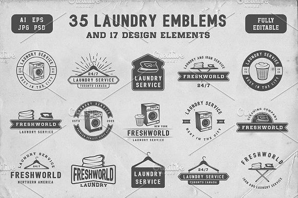 Set Of Vintage Laundry Emblems Logo Templates Creative Market