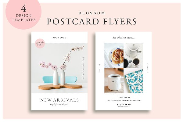 Flyer Templates: White Box Design Studio - Blossom Postcard Flyers
