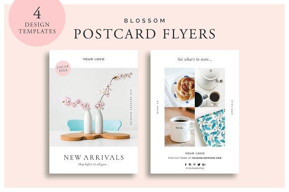 Blossom Postcard Flyers Flyer Templates Creative Market - Postcard flyer template