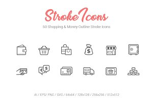 50 Shopping Outline Stroke Icons