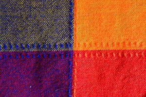 Cloth in Red Yellow Violet in Grey