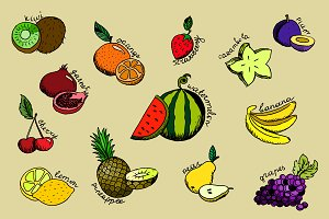 Set of cartoon fruit icons