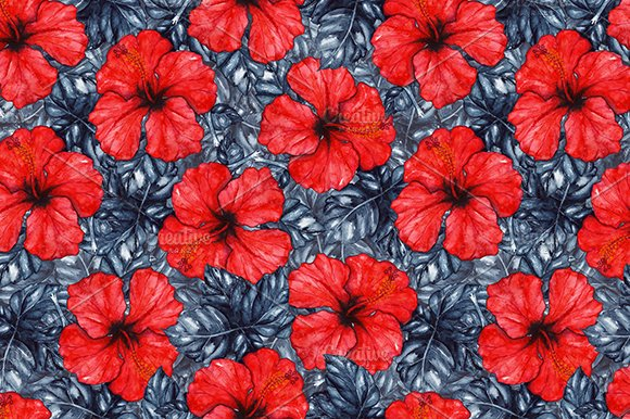 Watercolor hibiscus seamless pattern