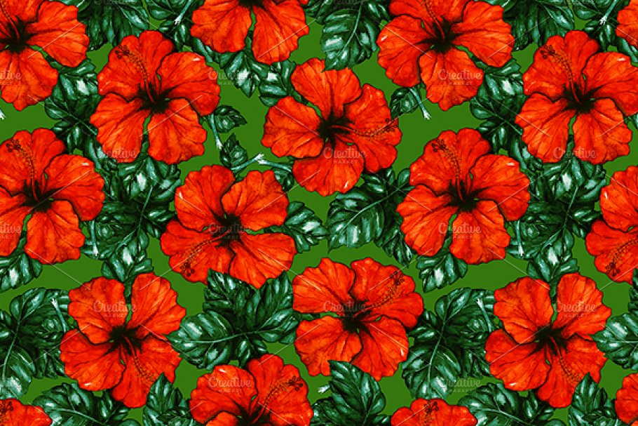 Watercolor hibiscus seamless pattern in Patterns