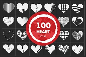 Valentine Heart Vector Icons Set