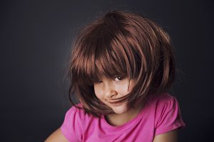Girl and wig