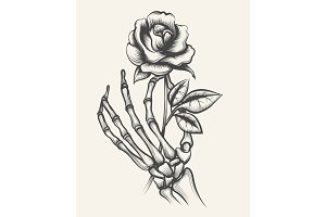 Skeleton hands with rose flower