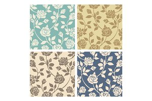 Vintage rose flowers seamless patterns set