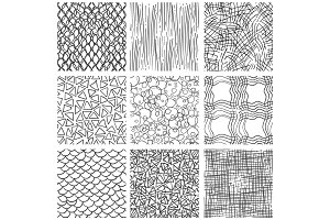 Abstract pen sketch seamless pattern set