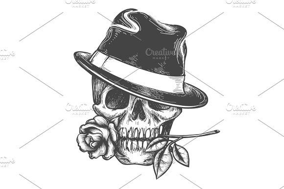 Skull In Hat With Rose Flower