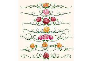 Decorative flourish rose flower dividers