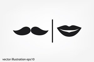lips and mustache
