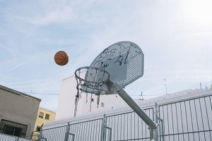 Ball is about to fall into basket