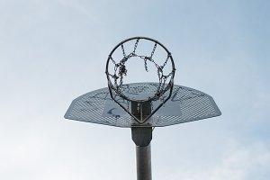 Empty outdoors basketball backboard