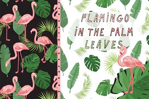 Flamingo in the Palm Leaves