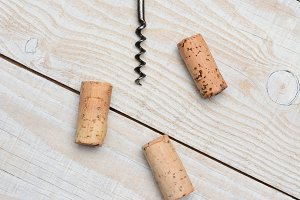 Antique Cork Screw and Corks