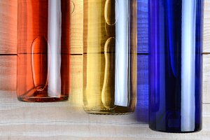 Red White Blue Wine Bottles