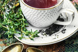 Hot tea with thyme