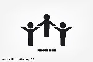 three people icon vector