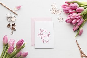 Pink Tulips Card/Invitation Mockup