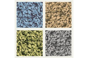 Fabric camouflage seamless patterns set